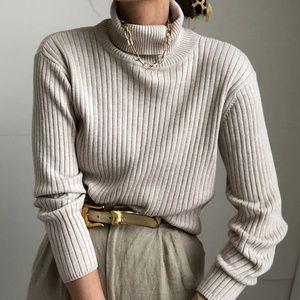TALBOTS/ ribbed boxy turtleneck knit pullover